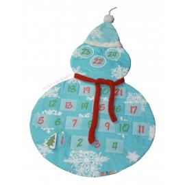 Calendrier de l'Avent Bonhomme de neige avec pochettes numérotées