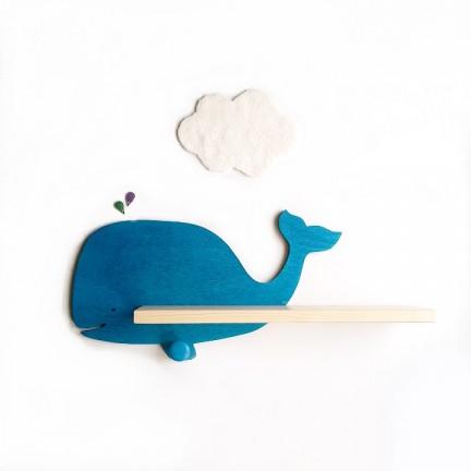 Etagère murale Baleine en bois teintée bleue