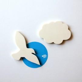 Magnets oiseau et nuage