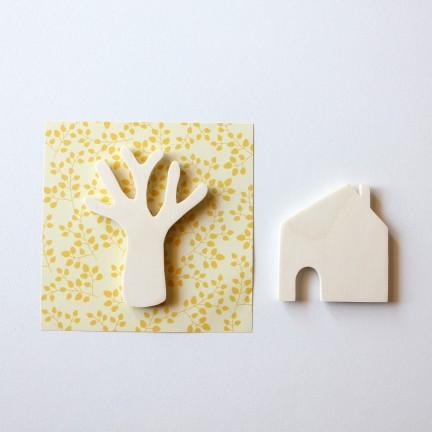 Magnets maison et arbre