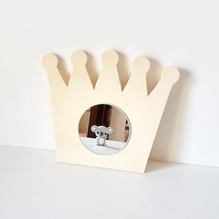 Miroir Couronne en bois naturel