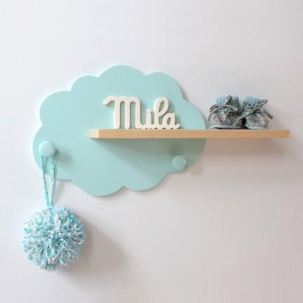Etagère murale Nuage Mint et bois