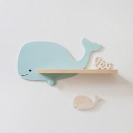Etagère murale Baleine Adélie bleu polaire