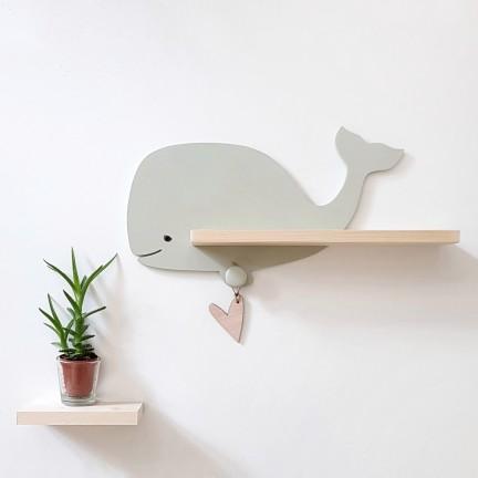Etagère murale Baleine Féroé vert de gris