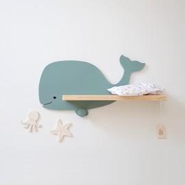 Etagère murale Baleine Kerguelen bleu vert