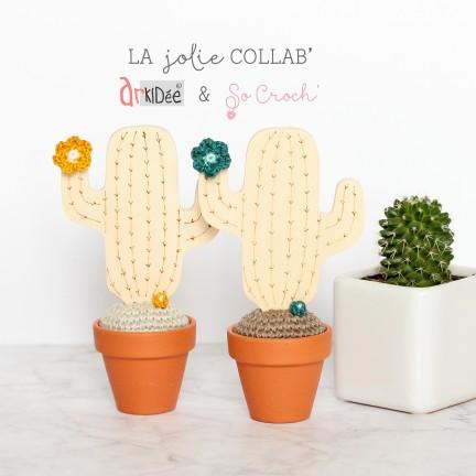 Cactus en pot bois et crochet