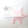 "Etagère murale Etoile rose et phrase ""make a wish"""